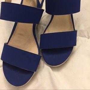 """NWOT Montego Bay Club 4"""" Royal Blue Wedge Sandals"""